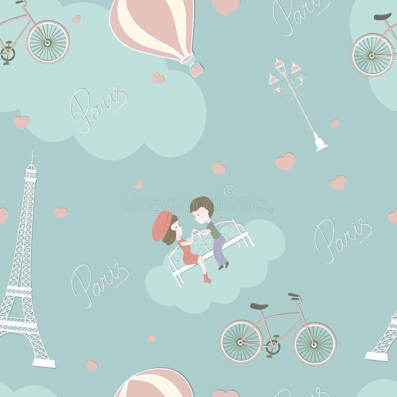 vänner paris royaltyfri illustrationer