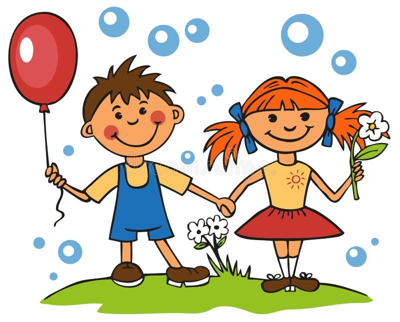 Vänner pojke och flicka stock illustrationer