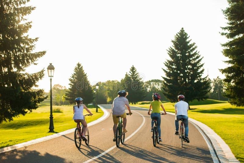 Vänner som cyklar på landsvägen, baksidasikt arkivfoto
