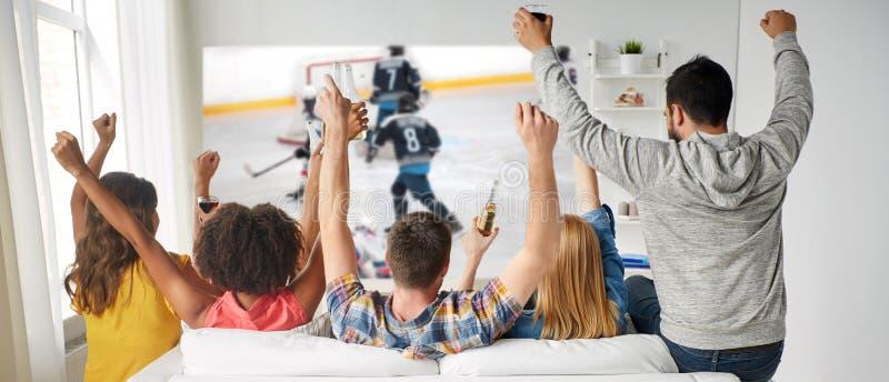 Vänner som håller ögonen på ishockey på projektorskärmen royaltyfria foton