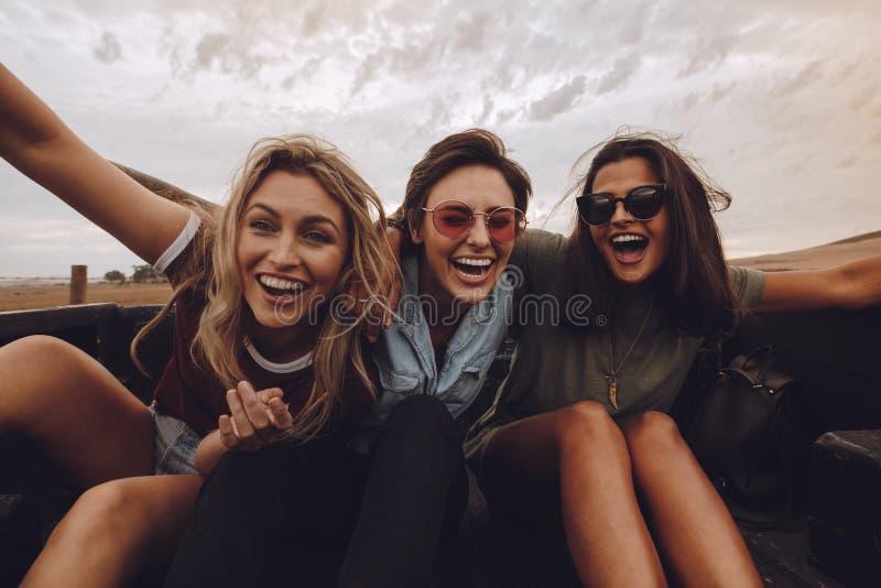 Vänner som har en stor tid på landsvägtur royaltyfri fotografi
