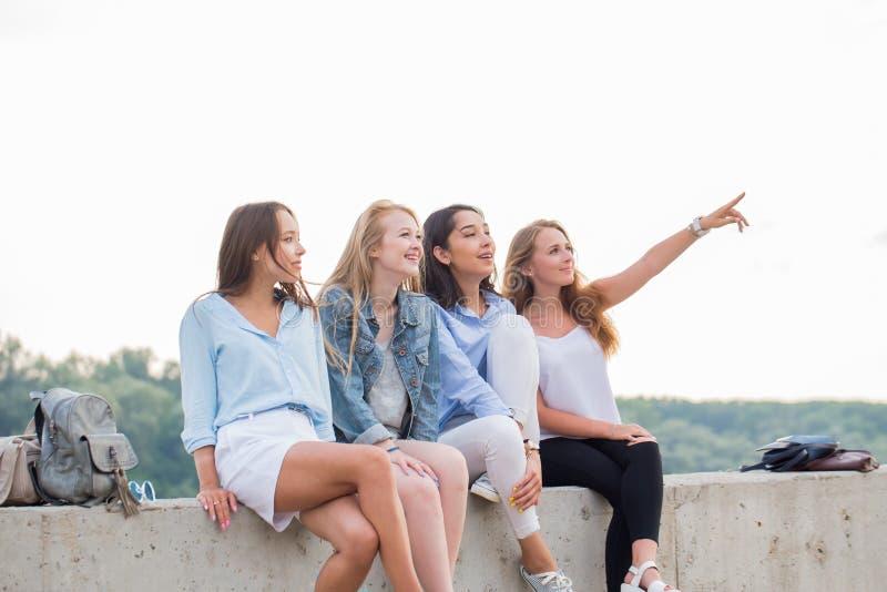 Vänner som har gyckel på helg, på picknick utomhus Barn som ler folk som sitter på den konkreta gränsen fotografering för bildbyråer