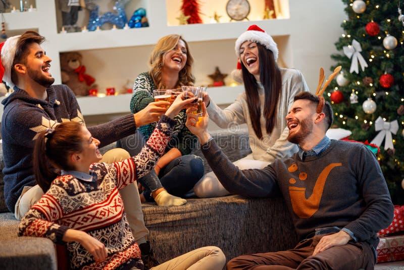 Vänner som har gyckel på julpartiet arkivfoton