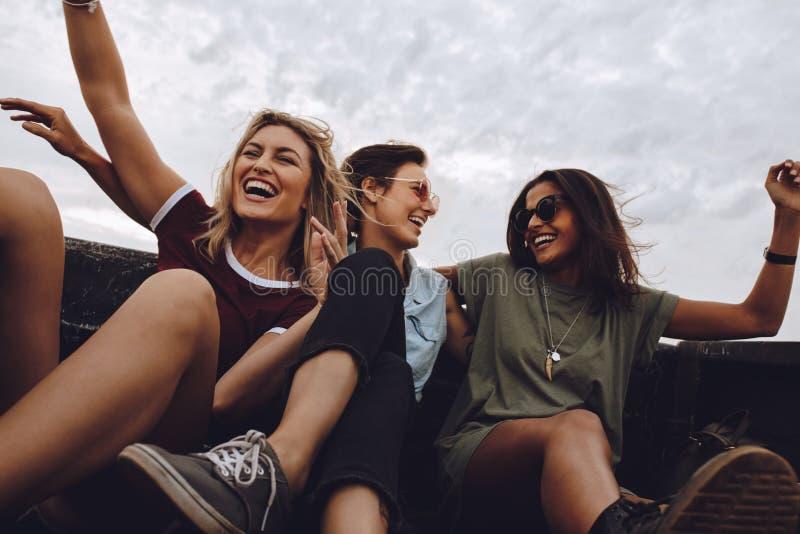 Vänner som har gyckel på vägtur i pickup royaltyfria foton