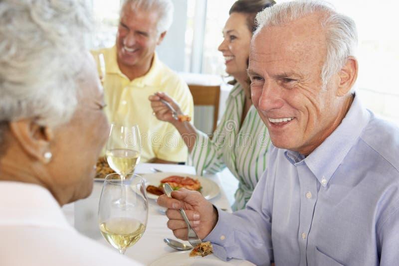 vänner som har lunchrestaurangen royaltyfri foto