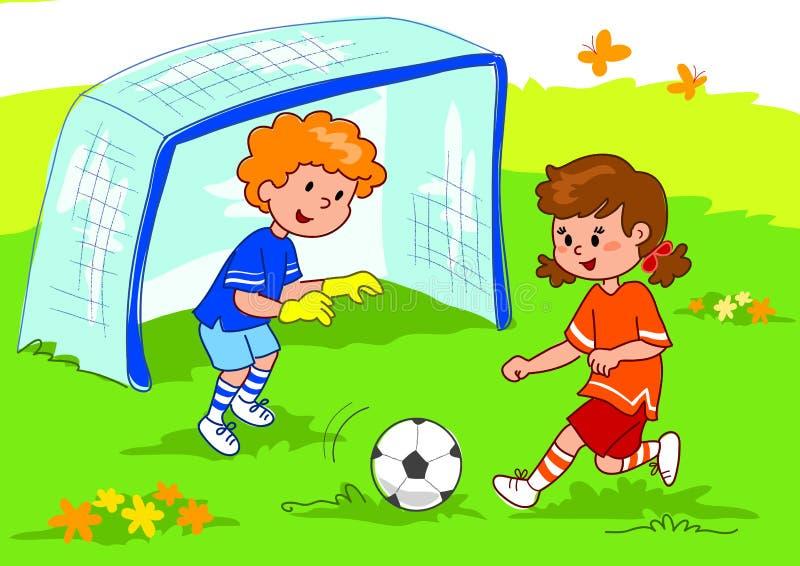 vänner som leker fotboll stock illustrationer