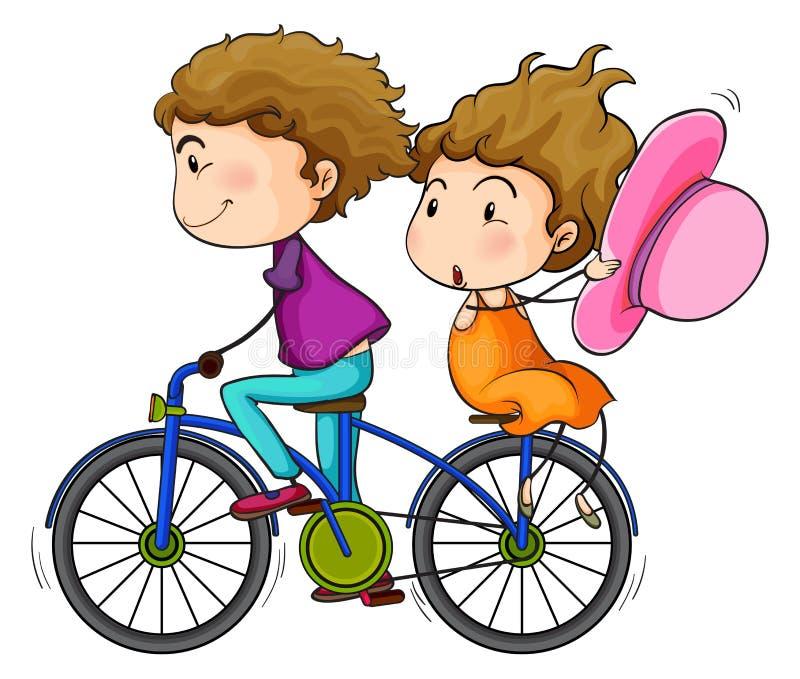 Vänner som rider en cykel royaltyfri illustrationer