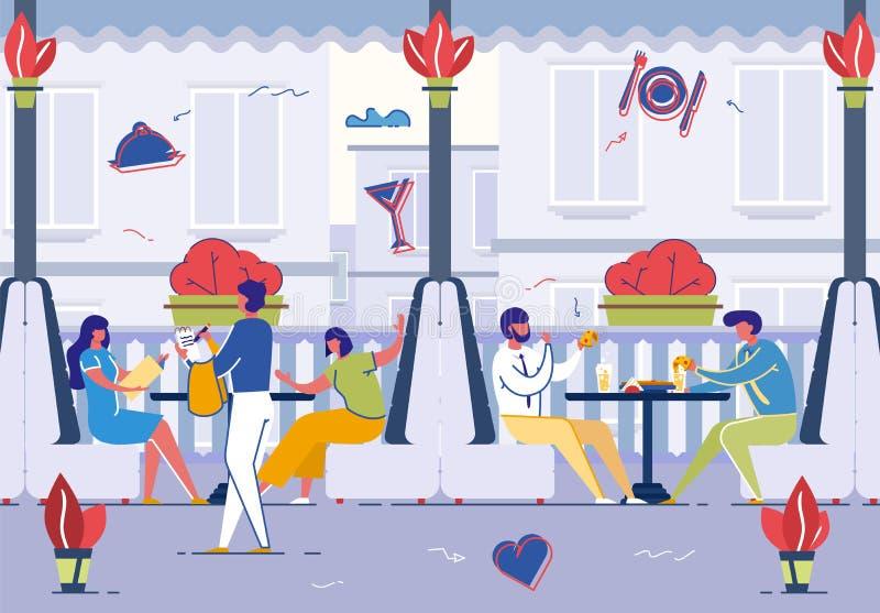 Vänner som sitter i sommarkafét som dricker drycker stock illustrationer