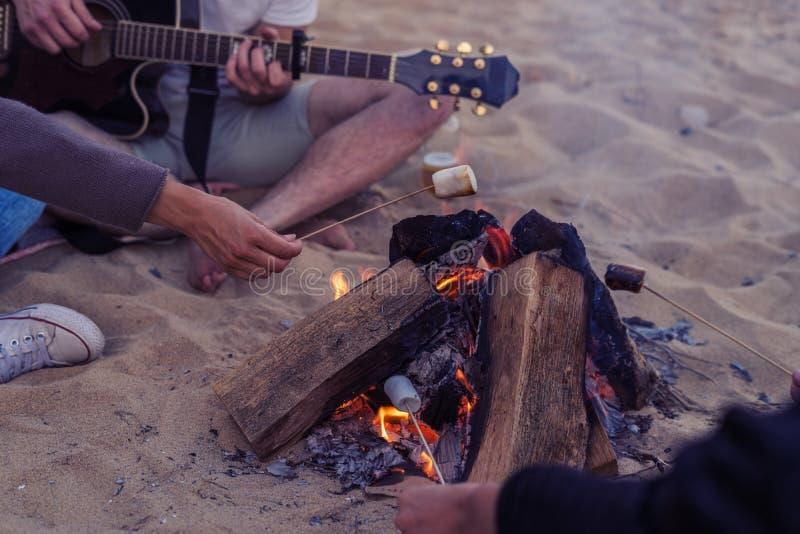Vänner som sitter på stenar på stranden Mannen spelar gitarren arkivbild