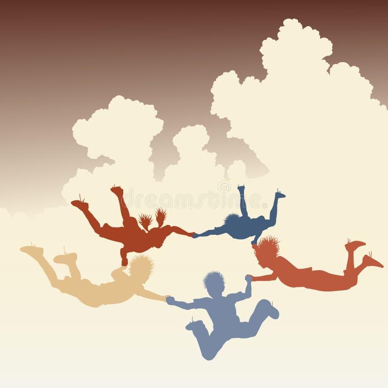 vänner som skydiving royaltyfri illustrationer