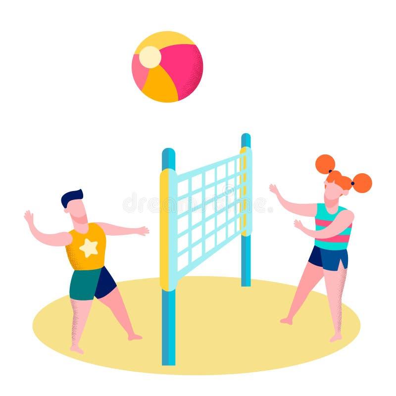 Vänner som spelar den plana illustrationen för strandvolleyboll stock illustrationer
