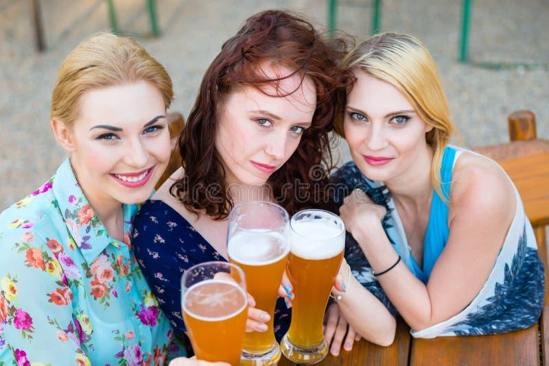 Vänner som talar och dricker öl i trädgård royaltyfria foton