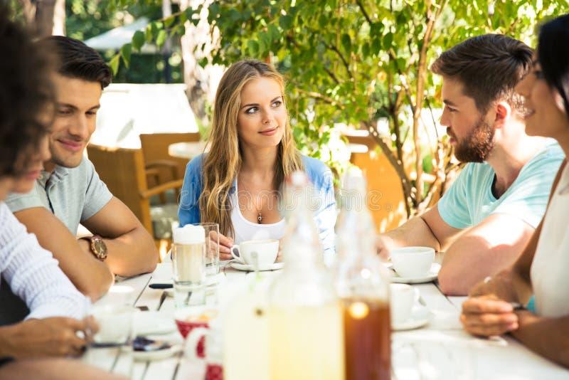 Vänner som tycker om det utomhus- matställepartiet fotografering för bildbyråer
