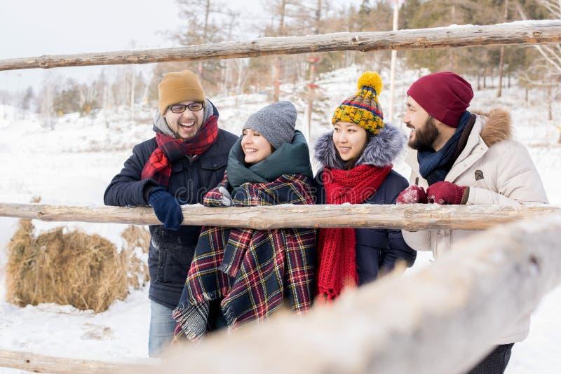 Vänner som tycker om vintersemester arkivfoton