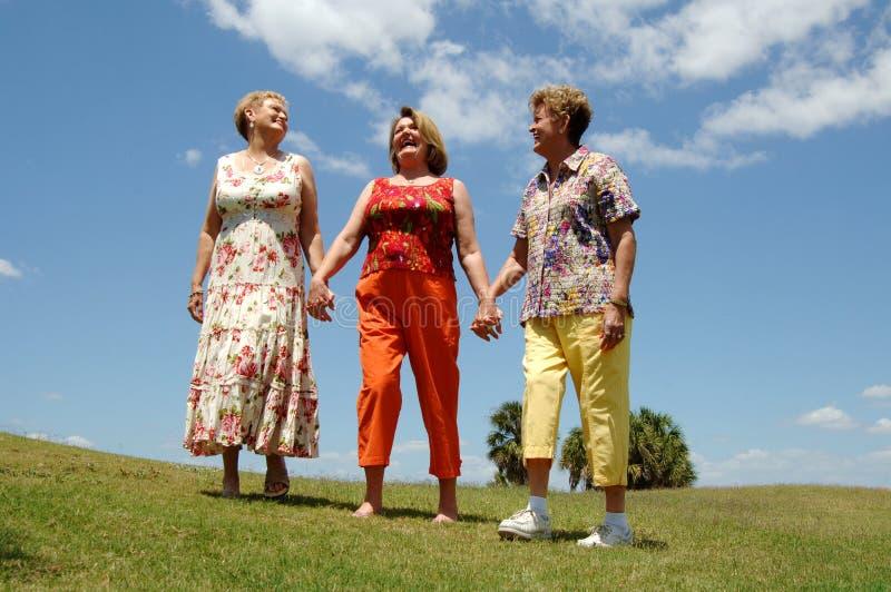 vänner som utomhus skrattar pensionären royaltyfri fotografi