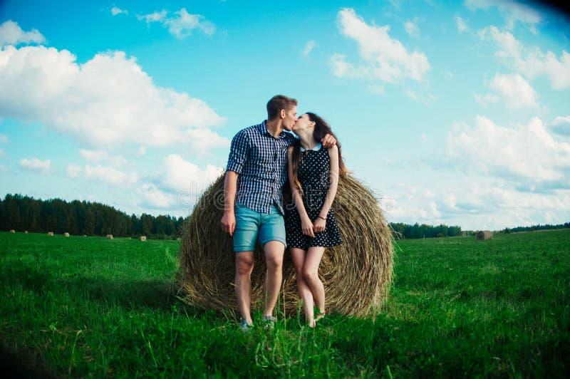 Vänner som vilar i ett fält nära höstackar fotografering för bildbyråer