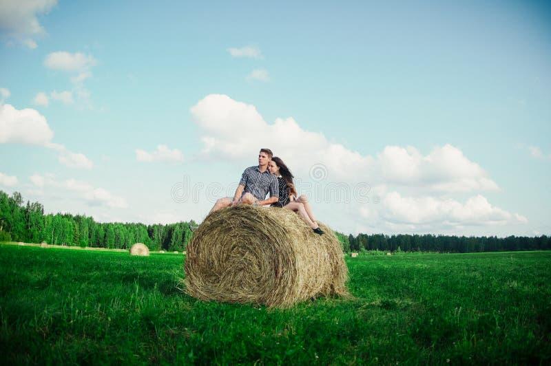 Vänner som vilar i ett fält nära höstackar royaltyfria bilder
