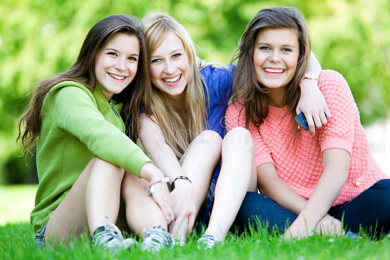 vänner tre royaltyfri bild