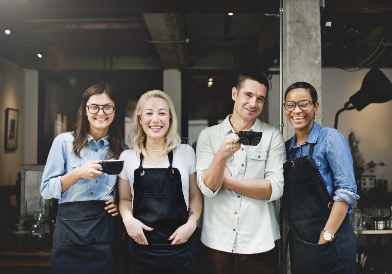 Vänpartnerskap Barista Coffee Shop Concept royaltyfri fotografi
