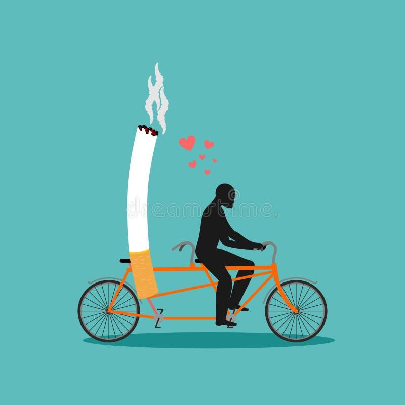 Vänrök Man och cigarett på cykeln Rökare på tandemcykeln Nic stock illustrationer