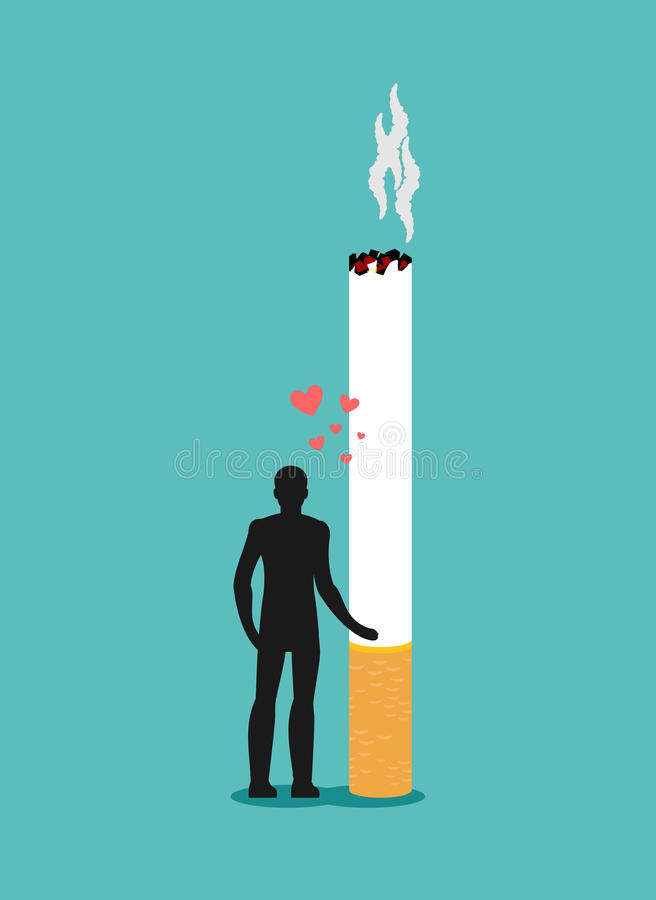 Vänrök Man som kramar cigaretten Beroende på nikotin man royaltyfri illustrationer