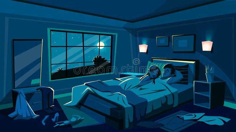 Vänsömn i illustration för sovrumsängvektor vektor illustrationer
