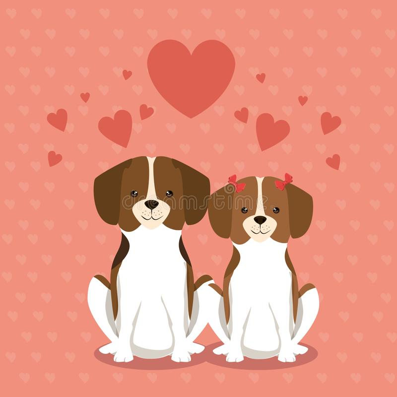 Vänskapsmatch för hundkapplöpningparhusdjur vektor illustrationer