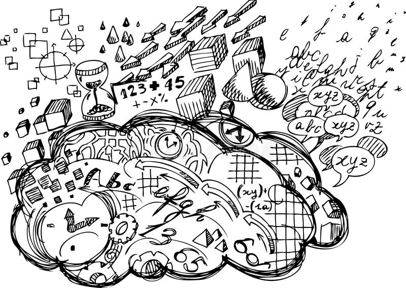 Vänster hjärnhalvklot vektor illustrationer