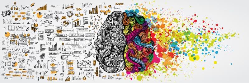 Vänster och höger mänsklig hjärna med socialt infographic på logisk sida Idérik halva och logikhalva av den mänskliga meningen ve stock illustrationer