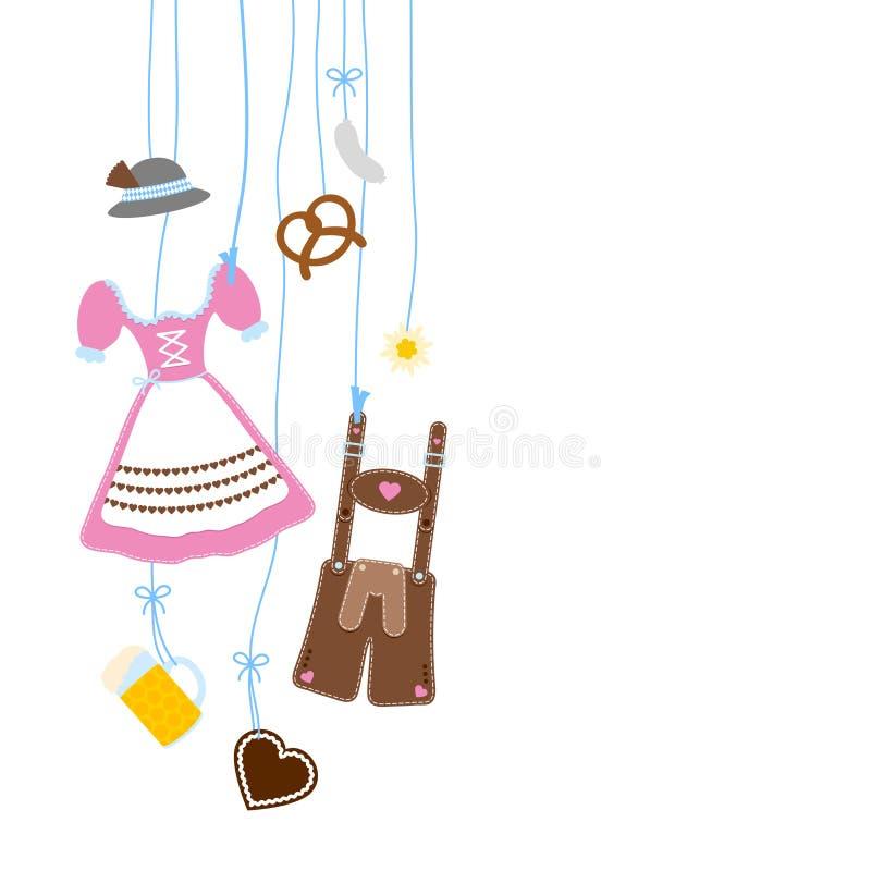 Vänstra hängande bruna Oktoberfest symboler som är rosa och stock illustrationer