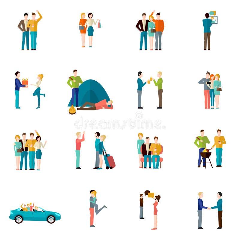 Vänsymbolsuppsättning stock illustrationer