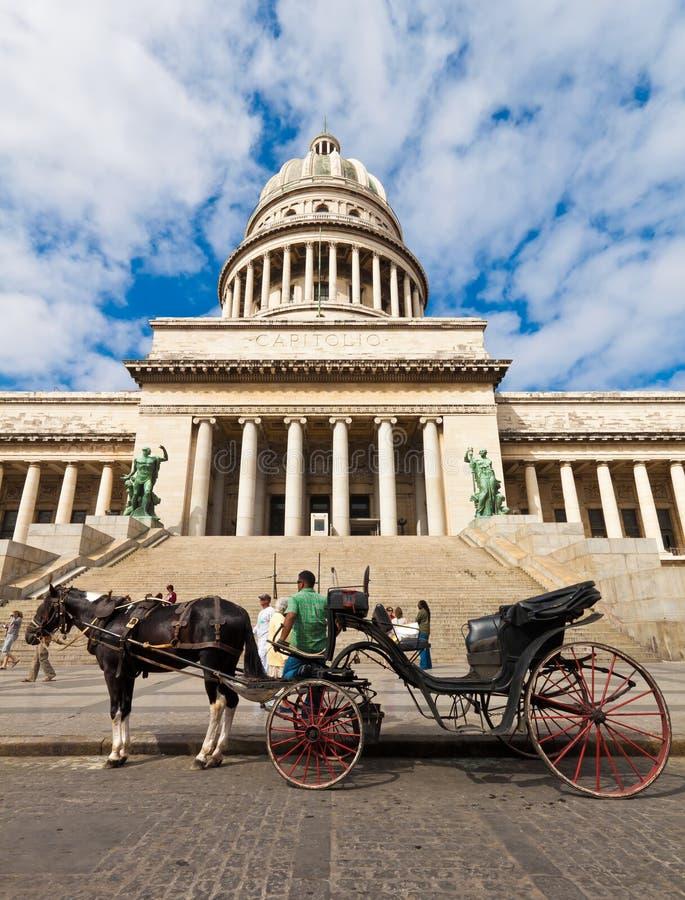 vänta för turister för vagnshavana häst arkivfoto