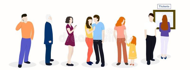 Väntande linje av folk royaltyfri illustrationer