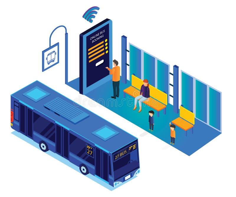 Väntande på buss för folk, medan personen bokar det online-isometriska konstverket för bussbiljetter royaltyfri illustrationer