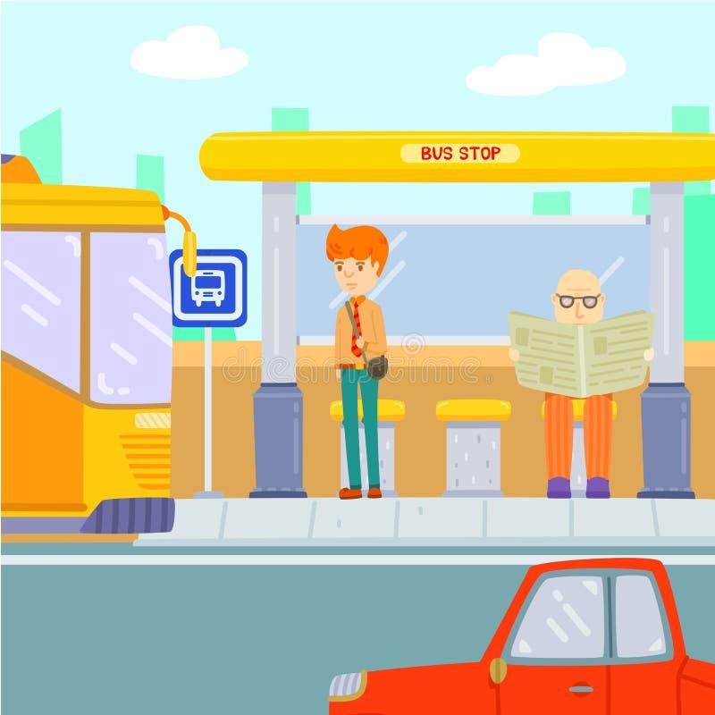 Väntande på buss för man på hållplatsen fotografering för bildbyråer