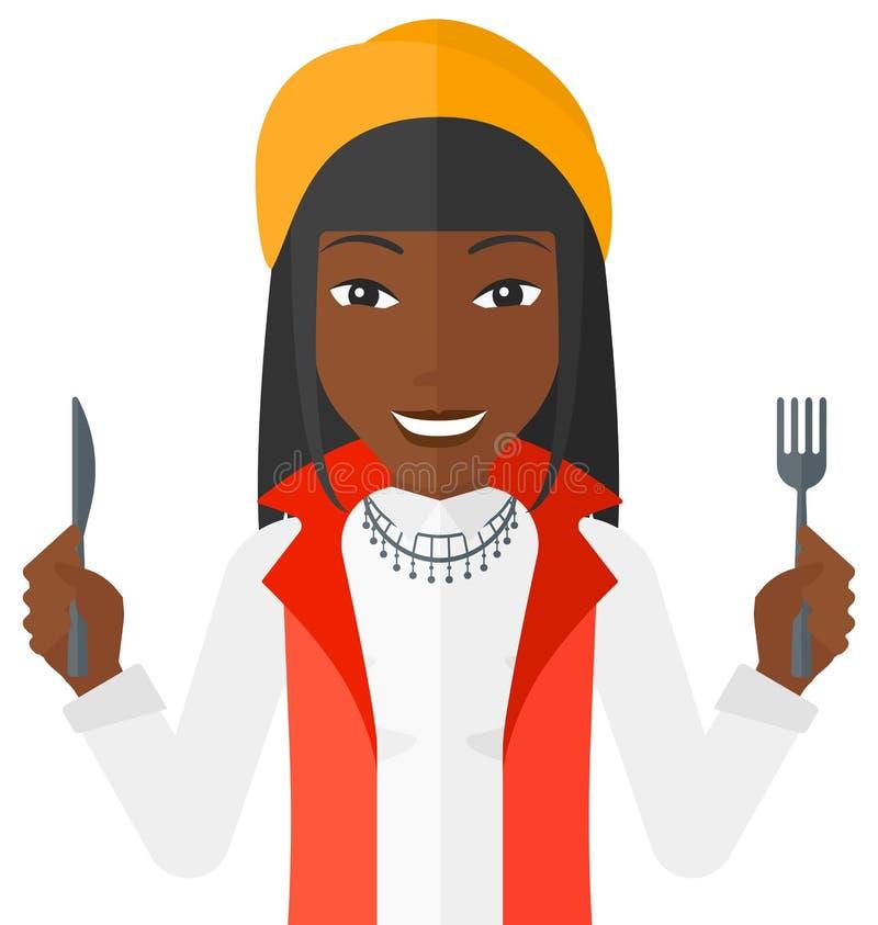 Väntande på mat för hungrig kvinna vektor illustrationer