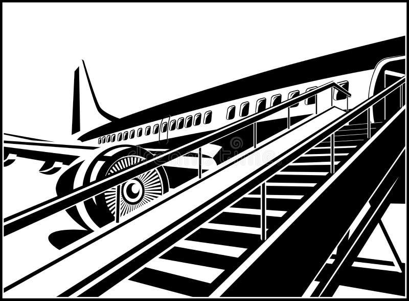Väntande på passagerare för stråltrafikflygplan vektor illustrationer
