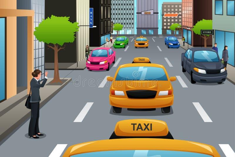 Väntande på taxi för affärskvinna vektor illustrationer