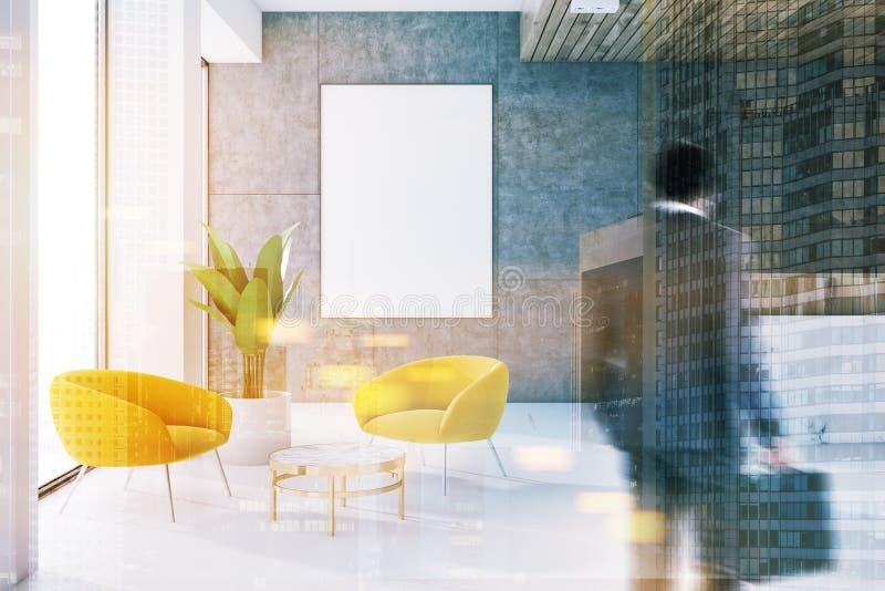 Väntande rum för grått kontor, mottagande, affisch, man arkivbilder