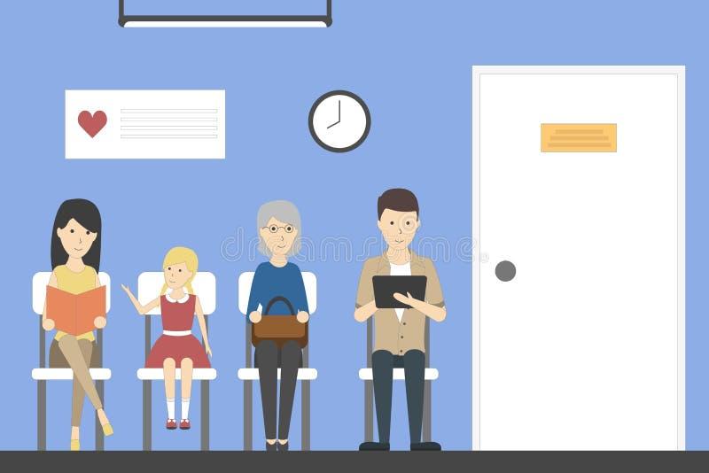 Väntande rum i sjukhus stock illustrationer