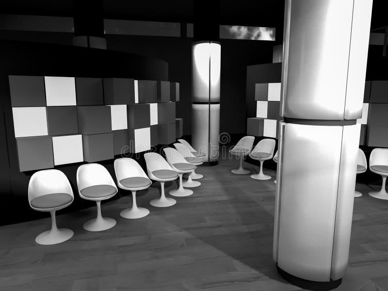 väntande rum med stolar i sjukhus, rent rum med former in royaltyfri illustrationer