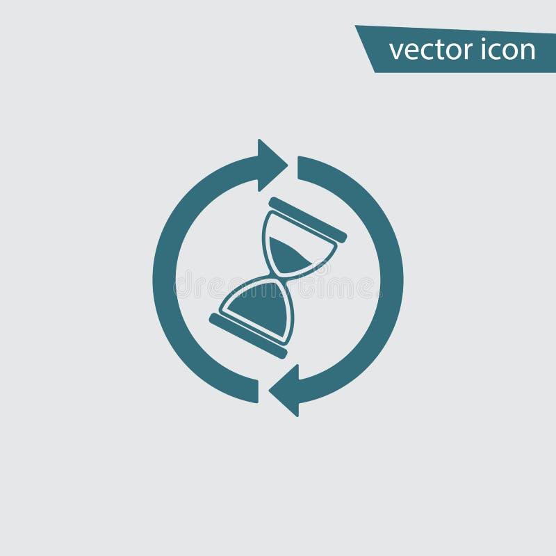 Väntetidsymbol Timglasklockavektor Modernt enkelt plant timmeexponeringsglastecken Moderiktigt stoppsymbol för w vektor illustrationer