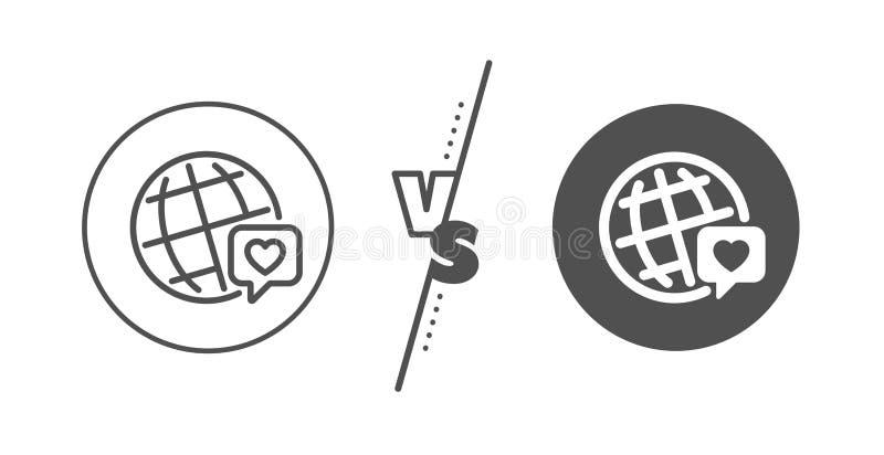 Vänvärldslinje symbol Kamratskapf?r?lskelsetecken Världsmärkesambassadör vektor stock illustrationer