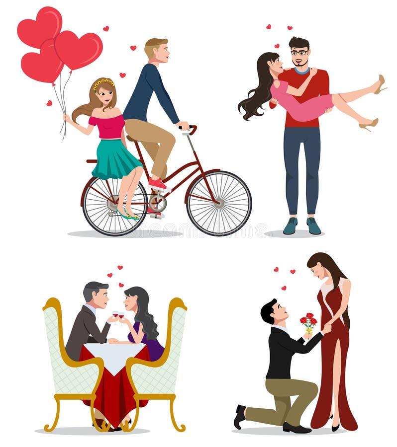 Vänvektortecken - uppsättning Par av valentinpar i cykel som daterar vektor illustrationer
