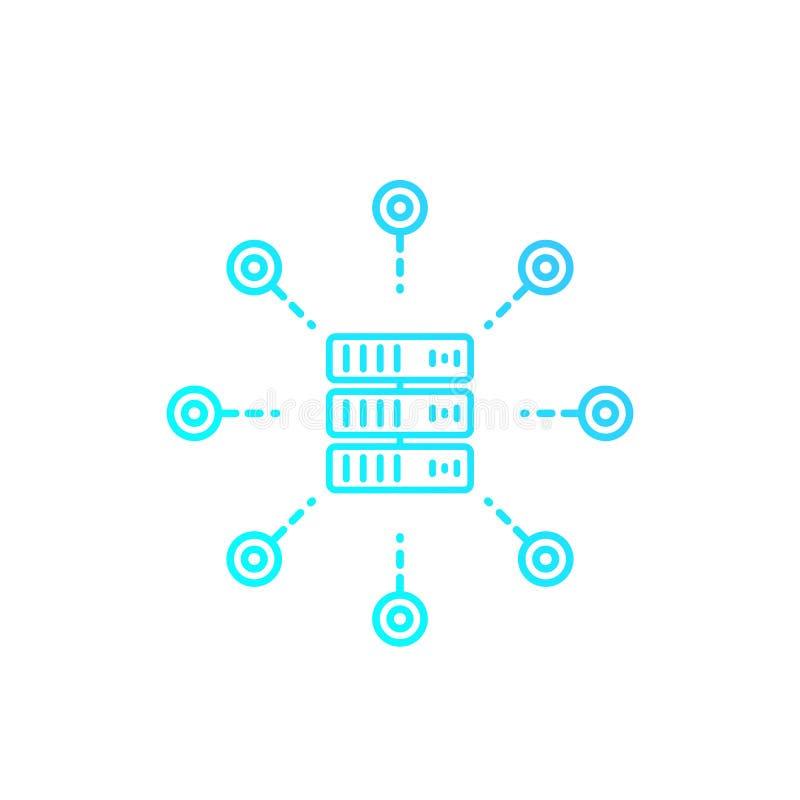 Värddator server, linjär symbol för varande värd service stock illustrationer