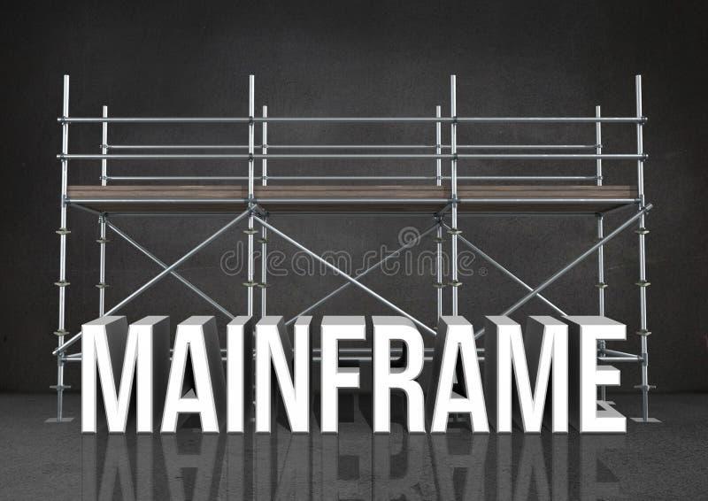 värddatoren för ordet 3D mot materialet till byggnadsställning i grå färger hyr rum stock illustrationer