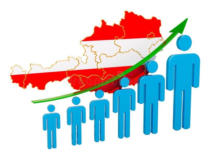 Värdering av anställning och arbetslöshet eller dödlighet och fertilitet i Österrike, begrepp framf?rande 3d vektor illustrationer