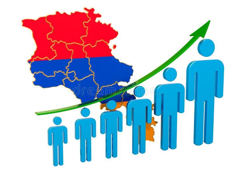 Värdering av anställning och arbetslöshet eller dödlighet och fertilitet i Armenien, begrepp framf?rande 3d stock illustrationer