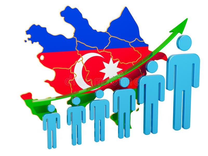 Värdering av anställning och arbetslöshet eller dödlighet och fertilitet i Azerbajdzjan, begrepp framf?rande 3d stock illustrationer