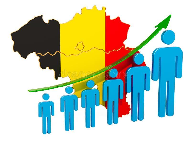 Värdering av anställning och arbetslöshet eller dödlighet och fertilitet i Belgien, begrepp framf?rande 3d royaltyfri illustrationer